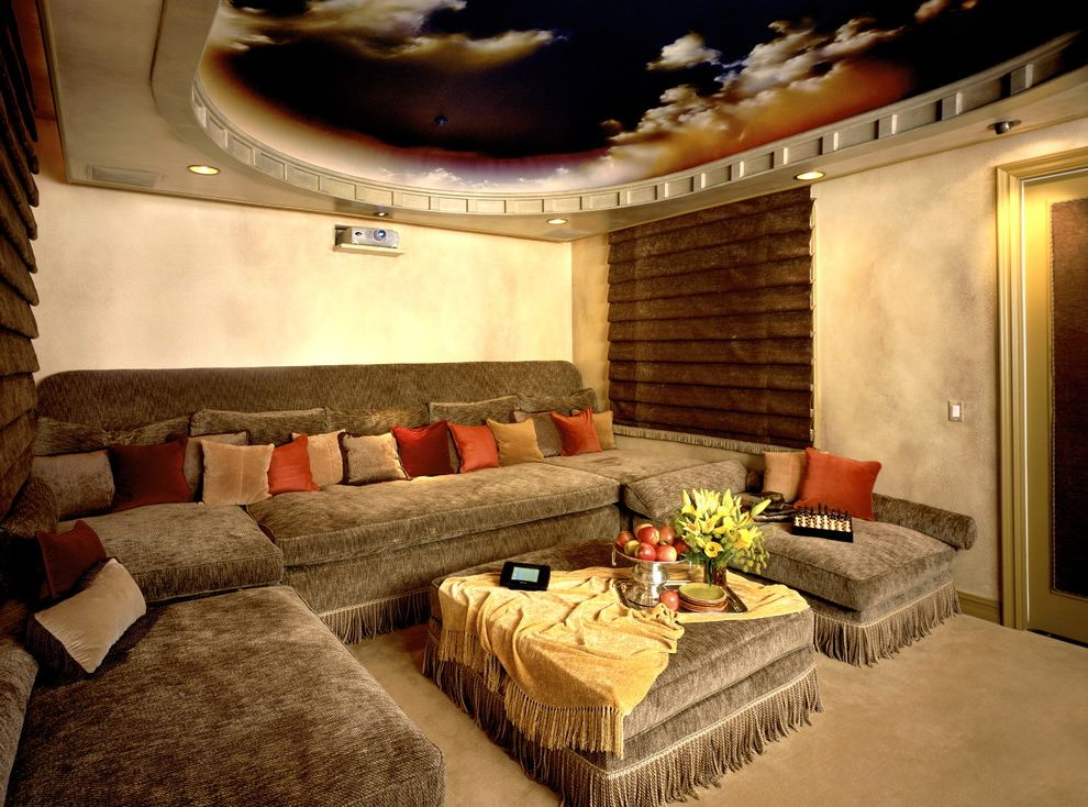 Menomonee Falls Theater with Contemporary Home Theater  and Carpet Couch Eyeball Light Gold Trim Home Theater Mural Projector Recessed Lighting Sofa Throw Pillow Wood Blinds