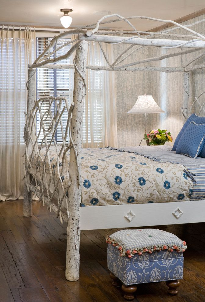 Mens Bed Frames with Eclectic Bedroom  and Aspen Bedding Branch Bed Canopy Bed Rustic Wood Floor Tall Bed Twig Bed Twigs White Twigs Wood Floor