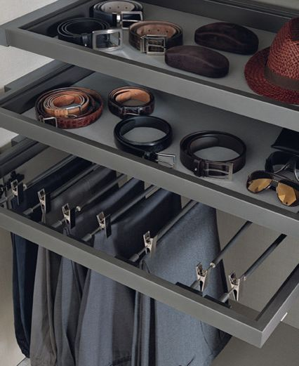 Mens Closet Ideas   Contemporary Closet  and Open Closet Pull Out Shelving Tray Shelving Trouser Rack