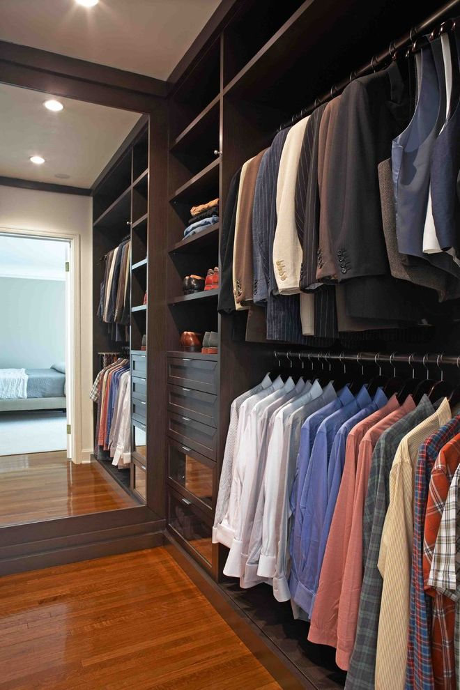 Mens Closet Ideas with Contemporary Closet  and Ceiling Lighting Double Hang Closet Full Length Mirror Recessed Lighting Shoe Racks Wood Flooring