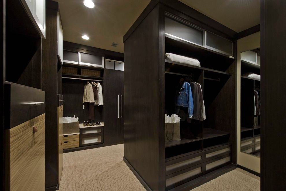 Mens Closet Ideas with Modern Closet Also Bamboo Custom Custom Closet Custom Closet Builder Custom Closet Design Dark Wood Cabinetry Masculine Millwork Minimalist Modern Rods Shoe Rack Tan Carpeting