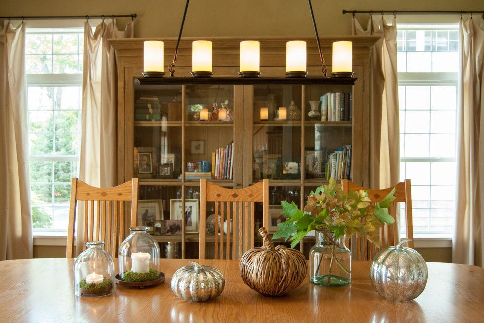 Mercury Glass Light Fixtures with Farmhouse Dining Room Also Bell Jar Bookcase Cabinet Candles Chandelier Country Cream Curtains Dining Room Fall Tableware Hutch Pendant Lighting Rustic Tan Wall Wood Chairs Wood Table