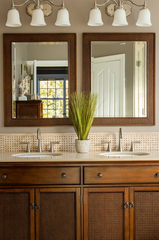 Meritage Homes Charlotte Nc   Tropical Bathroom Also Double Sink Vanity Framed Mirror Stainless Steel Faucet Triple Light Sconce Vanity Lighting Vanity Top Widespread Faucet