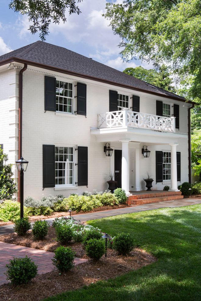 Meritage Homes Charlotte Nc with Traditional Exterior  and Black White Brick Exterior Exterior Lantern Landscape Lighting Modern Landscape Portico Shutters White Exterior