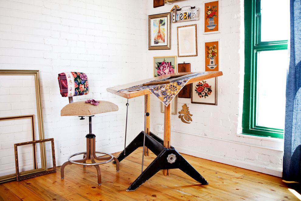 Metal Drafting Table   Eclectic Home Office Also Brick Wall Desk Chair Diy Drafting Table Frames Gallery Wall Green Trim Painted Brick Painted Wood Studio Wall Art Wall Decor White Brick Wood Flooring