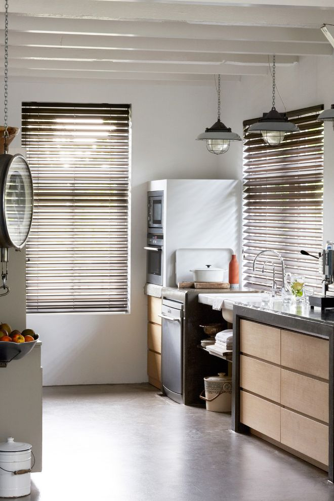Metro Appliances Springdale with Eclectic Kitchen  and Blinds Brown Blinds Butterfly Blinds Dishwashers Kitchen Area Kitchen Blinds Kitchen Cabinets Shutter Sink White Walls Window Blinds Window Coverings Window Treatments Wood Blinds