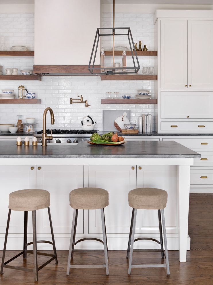 Metro Shelving Home Depot   Transitional Kitchen  and Beige Bar Stools Gold Faucet Lantern Pendant Open Kitchen Plaster Hood Subway Tile Waterworks White Farmhouse