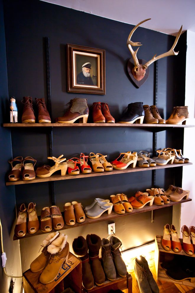 Metro Shelving Home Depot with Eclectic Closet Also Antlers Black Wall Chalkboard Wall Shoe Closet Shoe Organization Shoe Shelves Shoe Showroom Shoe Storage Under Lighting
