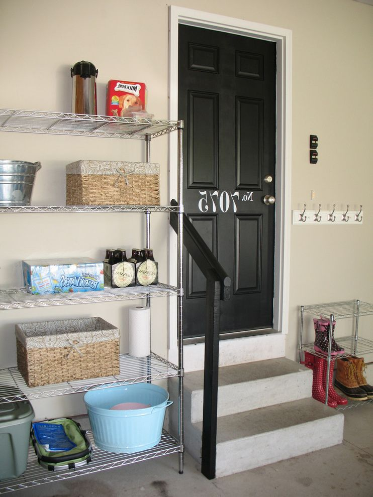 Metro Shelving Home Depot with Traditional Entry  and Black Door Cubbies Garage Garage Entry House Number Storage