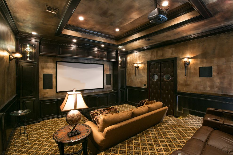 Metropolitan Theater Austin with Mediterranean Home Theater  and Faux Painting Media Room Theatre Room