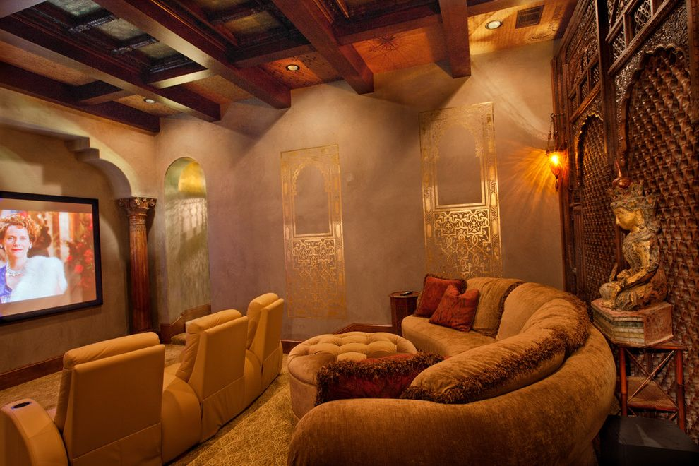Metropolitan Theater Austin with Traditional Home Theater Also Archway Beams Carpet Column Curved Sofa Leather Chairs Sconce Screen Sculpture Tufted Ottoman Wall Treatment