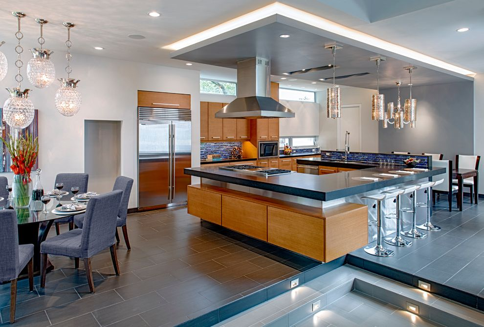 Meyerland Glass with Modern Kitchen Also Light Cove Modern Kitchen Modern Wood Cabinetry Stainless Hood Stainless Steel Appliances Stainless Steel Stove