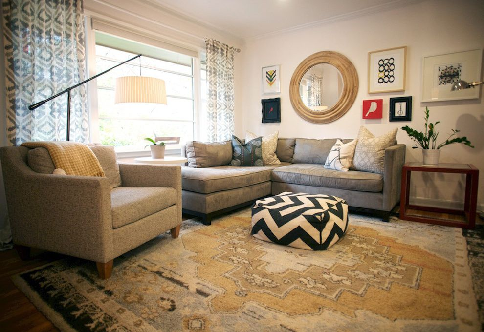 Mgbwhome   Eclectic Living Room Also Cozy Modern Persian Rug Picture Collage Pouff Ottoman Round Mirror Sectional Sofa Small Living Room Transitional White Walls