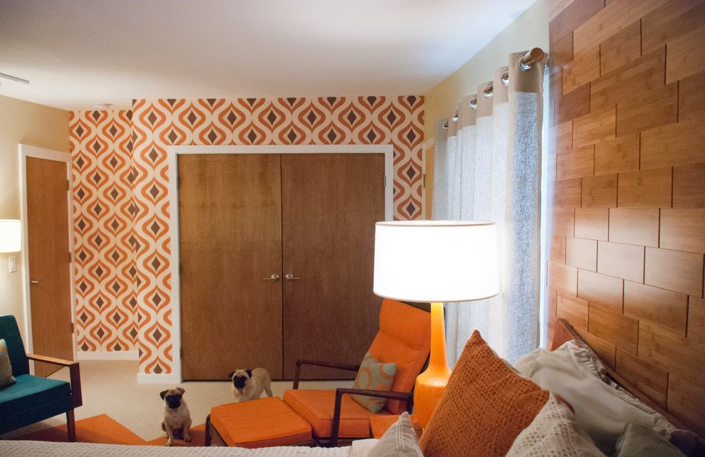 Mgbwhome with Midcentury Bedroom  and Bamboo Flooring on Walls Bedroom Coyuchi Linens Flooring on Walls Flor Carpet Grahambrown Wallpaper Jens Risom Master Bedroom Suite Mid Century Modern Mid Century Modern House Remodel Mitchell Gold Lamp