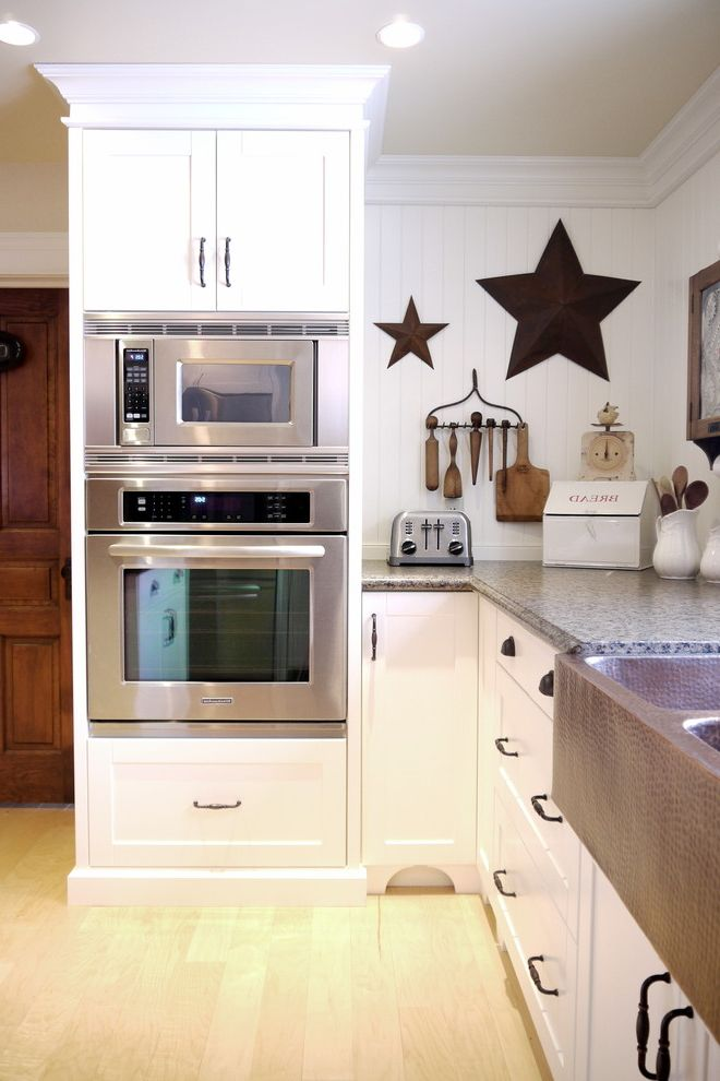 Microwave Toaster Combo   Farmhouse Kitchen  and Appliances Apron Sink Cabinet Cabinetry Custom Custom Cabinets Custom Kitchen Farm Farmhouse Kitchen Stainless Appliances Stainless Steel Wall Oven White White Kitchen Wood Woodworking