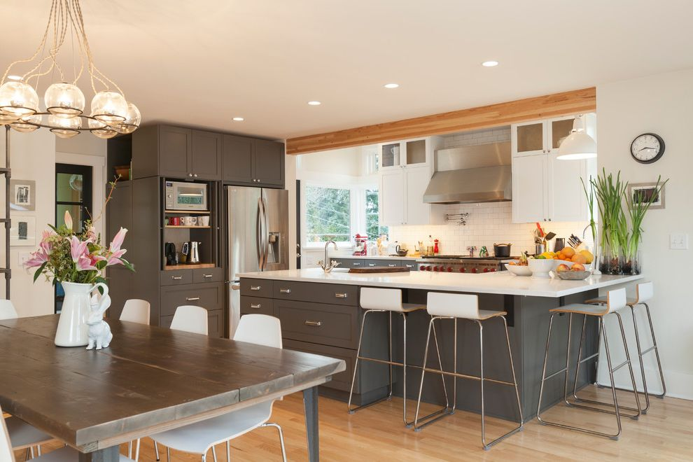 Microwave Toaster Combo   Transitional Kitchen Also Grey Cabinets Open Floor Plan White Cabinets