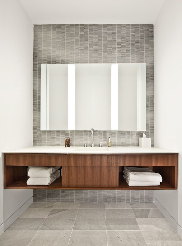 Mile North Hotel Chicago   Industrial Bathroom  and Corian Floating Vanity Glass Marble Tile Floor Marble Tile Wall Tile Towel Storage Wood