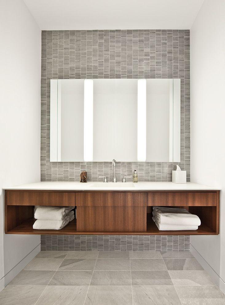 Mile North Hotel Chicago   Industrial Bathroom  and Corian Floating Vanity Glass Marble Tile Floor Marble Tile Wall Tile Towel Storage Wood