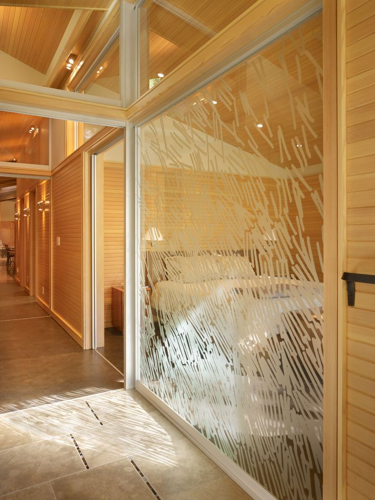 Mile North Hotel Chicago   Midcentury Hall  and Decorative Glass Exposed Beams Glass Panel Hallway Tile Floor Wood Beams Wood Panels