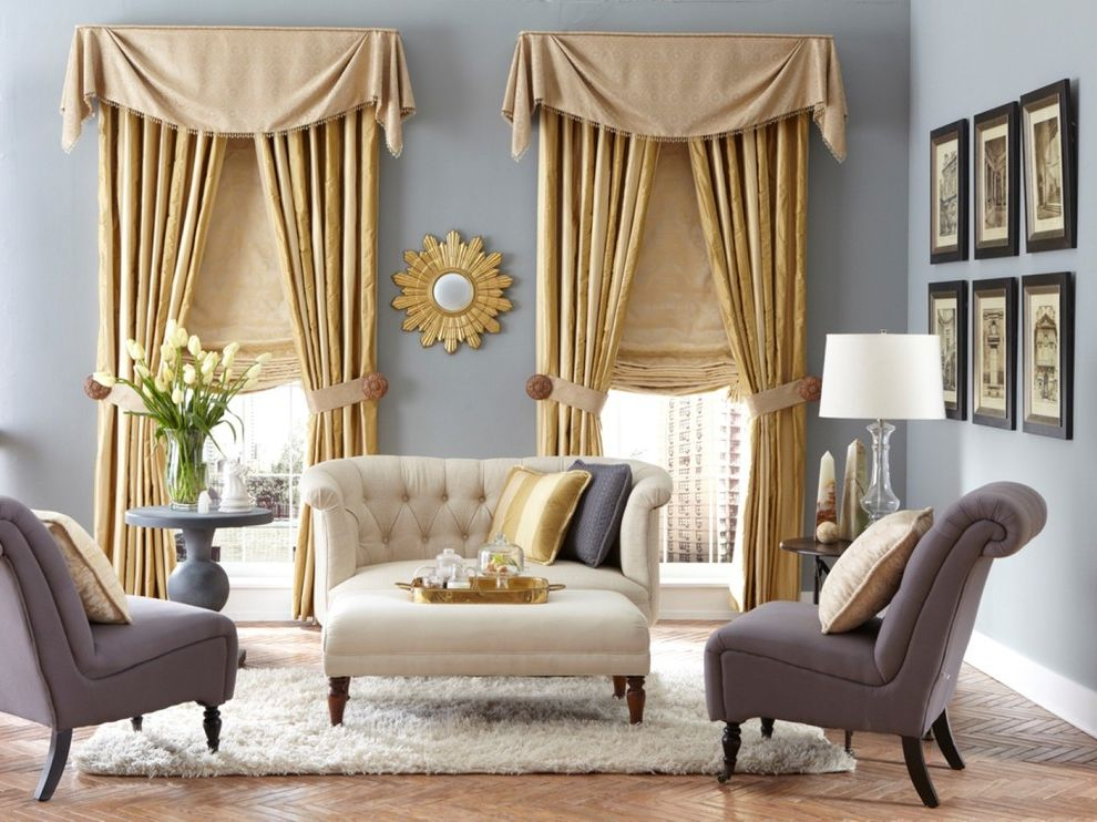 Mile North Hotel   Traditional Living Room  and Curtains Custom Drapery Drapery Drapery with Valance Drapes Energy Efficient High End Curtain Drape Layered Drapes Roman Shade Roman Shades Shades Shutter Valance Valances Window Coverings Window Treatments