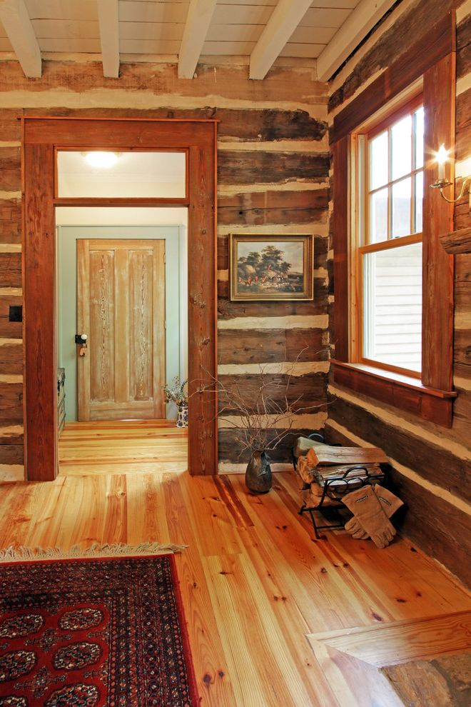 Mile North Hotel with Rustic Dining Room Also Door Log Wall Pine Pine Floor Rug Rustic Timber Timber Wall White Ceiling White Painted Ceiling Wood Beams Wood Ceiling Wood Floor
