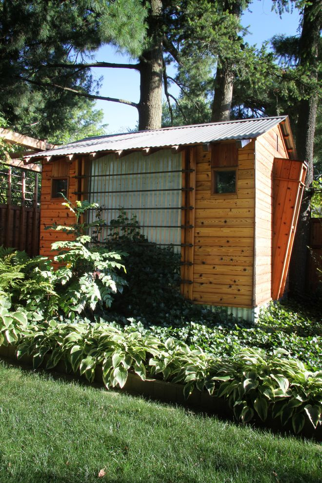 Milford Plumbing Supply with Craftsman Shed  and Back Yard Backyard Retreat Copper Corrugated Metal Garden Shed Holly Hostas Ivy Jardin Landscape Lawn Metal Siding Pavilion Pavillion Shed Sheds Small House Stogage Shed Tiny House Tool Shed Wrinkly Tin