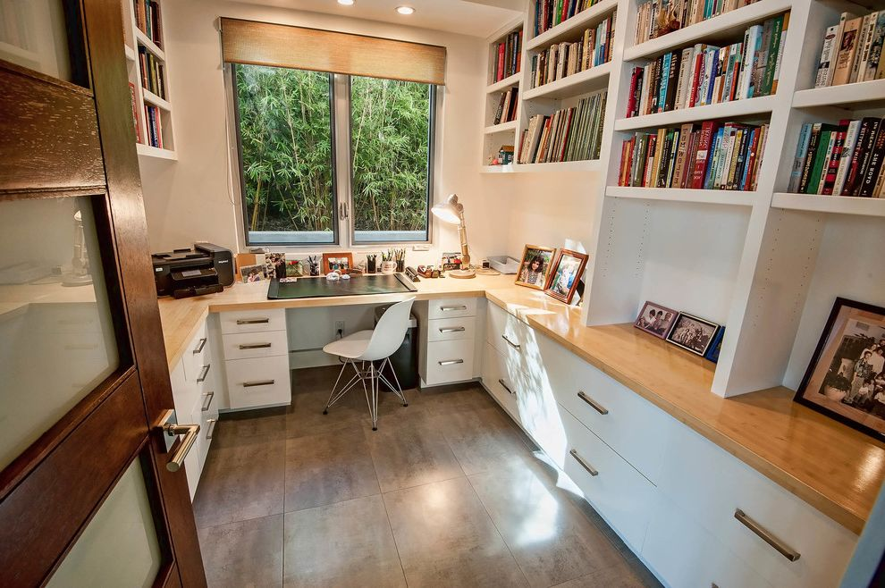 Milgard Simi Valley   Contemporary Home Office Also Built in Shelves Built in Shelves Built in Storage Library Small Office Small Space Tile Floors Wood Countertops