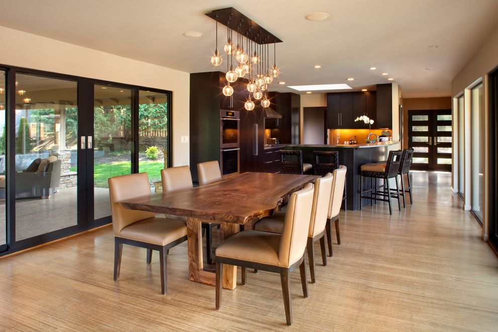 Milgard Simi Valley with Contemporary Dining Room Also Beige Dining Chairs Chandelier Dining Table Light Live Edge Dining Table Recessed Lighting Sliding Glass Doors