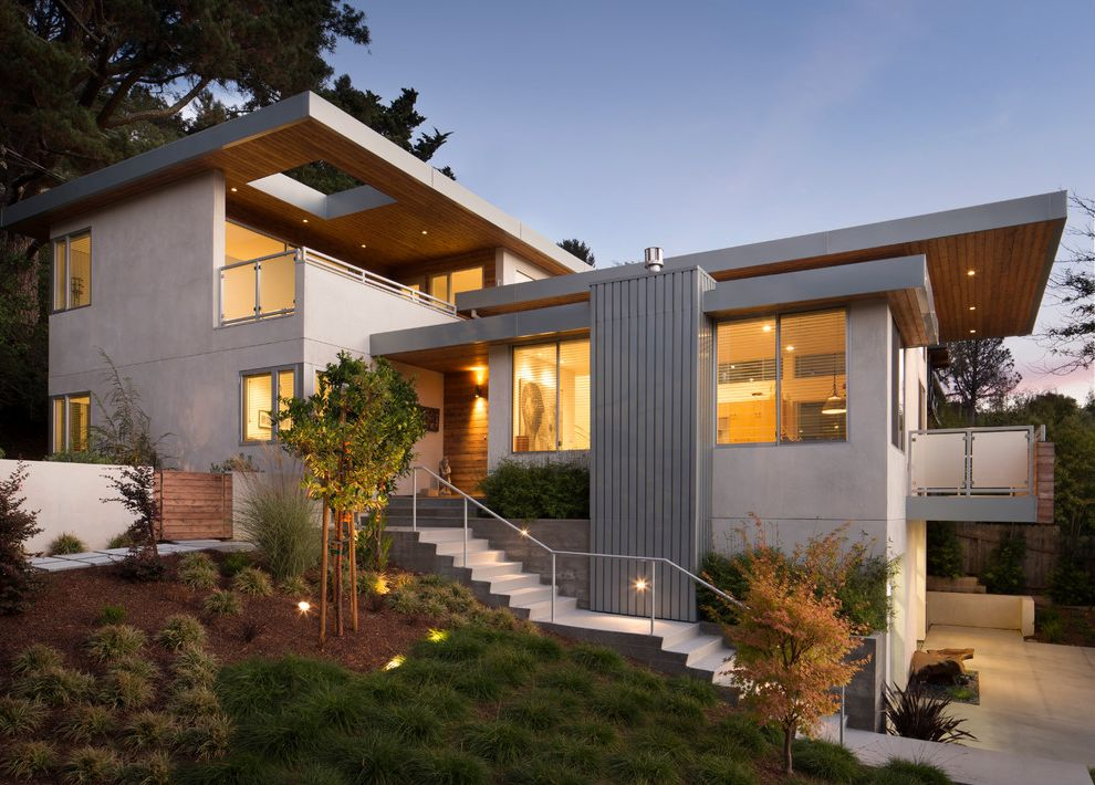 Mill Valley Houses for Sale   Contemporary Exterior Also Deck Landscape Lighting Landscaping Outdoor Lighting Outdoor Staircase Remodel Uplighting Wood Ceiling