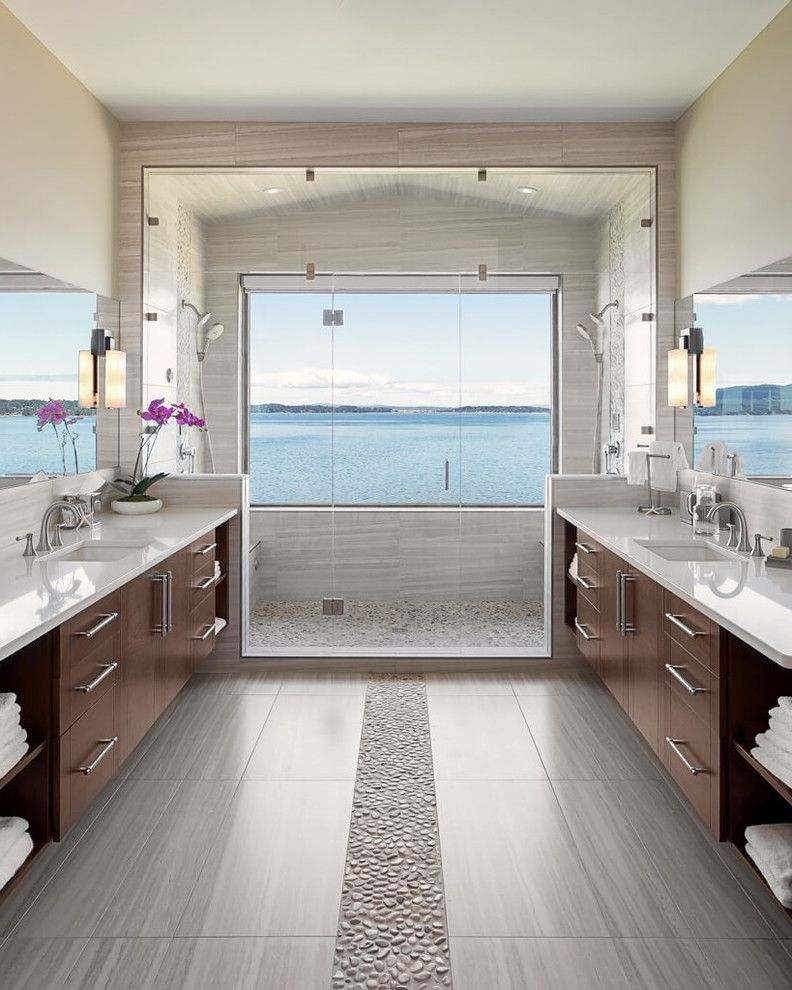 Mill Valley Spa   Contemporary Bathroom Also Calm Contemporary Beach House His and Hers Large Window in Shower Spa Tranquil Two Sinks Two Vanities View Wall Mirror Wall Sconces Waterfront