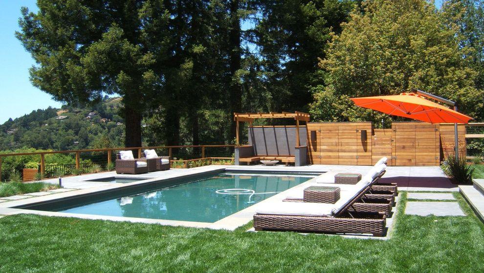 Mill Valley Spa   Modern Pool  and Concrete Pavers Horizontal Wood Panels Lawn Lounge Chairs Orange Umbrella Storage White Wicker Wood Pergola