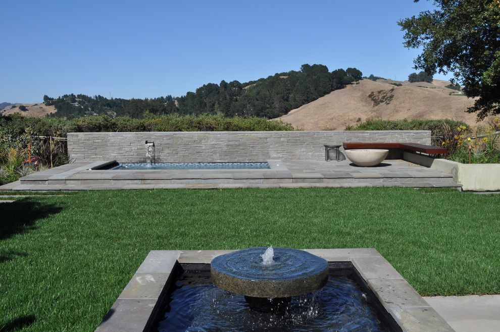Mill Valley Spa   Modern Pool  and Fire Bowl Fountain Garden Bench Geometric Geometry Grass Hot Tub Jacuzzi Lawn Minimal Outdoor Fire Pit Patio Spa Stacked Stone Stone Wall Turf View Water Feature