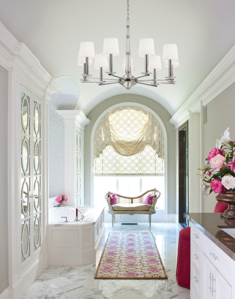 Mill Valley Spa   Traditional Bathroom  and Arch Window Bench Chandelier Elegance Glam Pink Accents Rug Runner Spa Bath Valance Window Treatment