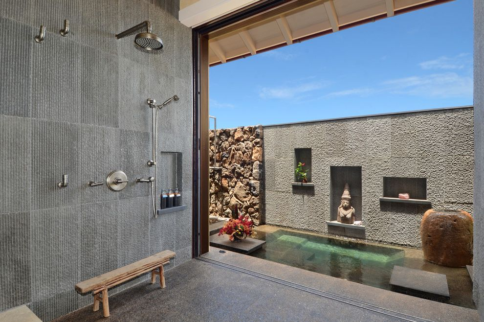 Mill Valley Spa with Asian Bathroom Also Art Niche Floor Treatment Indoor Outdoor Master Bathroom Rafter Tails Rain Showerhead Spa Stone Fence Wall Treatment Wood Bench Zen