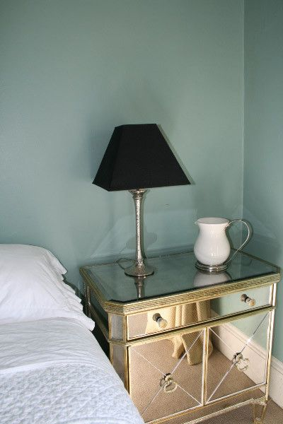 Mirror Dressor   Eclectic Bedroom Also Black Shade on Bashed Metal Lamp Stand Faded Elegance Glass Green Italian Porcelain Jug with Pewter Handle Mirrored Art Deco Inspired Cupboard Shabby Chic Sheets and Quilt