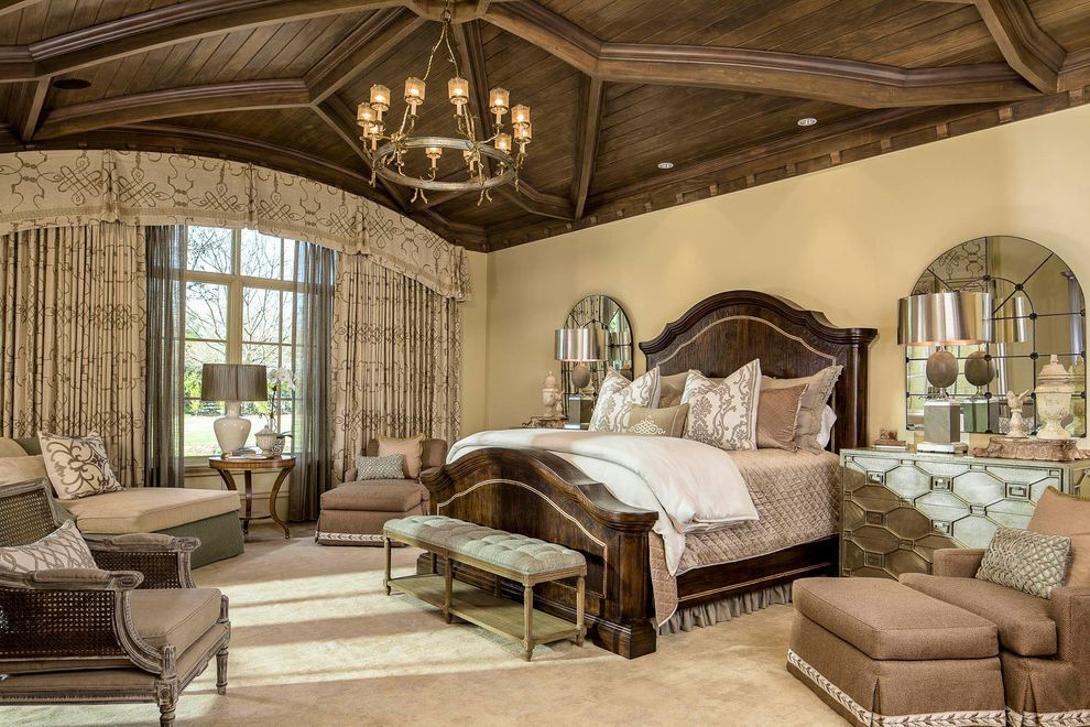 Mirror Dressor   Traditional Bedroom  and Arch Mirror Bedroom Bench Bedroom Sitting Area Beige Carpet Beige Chair Beige Chaise Lounge Beige Curtain Beige Wall Ceiling Detail Chandelier Dark Wood Bed Dark Wood Ceiling Window Treatment Wood Beams Woodwork