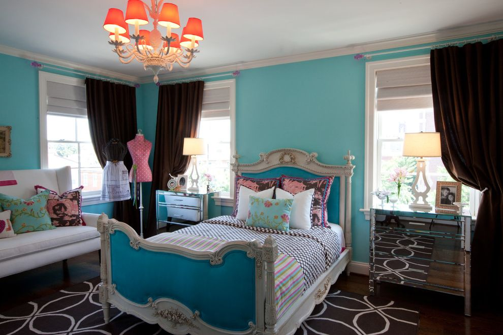 Mirror Dressor   Traditional Bedroom  and Area Rug Bed Frame Bedside Tables Bright Colors Crown Molding Decorative Pillows Mirrored Furniture Modern Chandelier Painted Walls Sofa Table Lamps Throw Pillows White Baseboards Window Trim