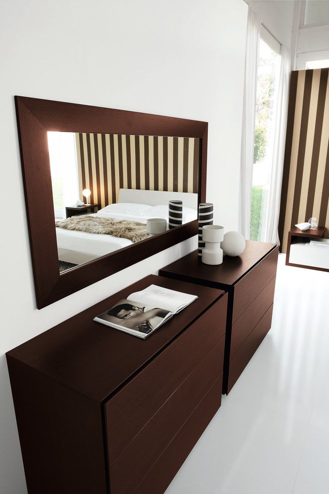 Mirror Dressor with Contemporary Spaces  and Big Mirror Ceramics Dark Wood Dressers Full Length Mirror Sleek Striped Wall Vases White Floors White Walls