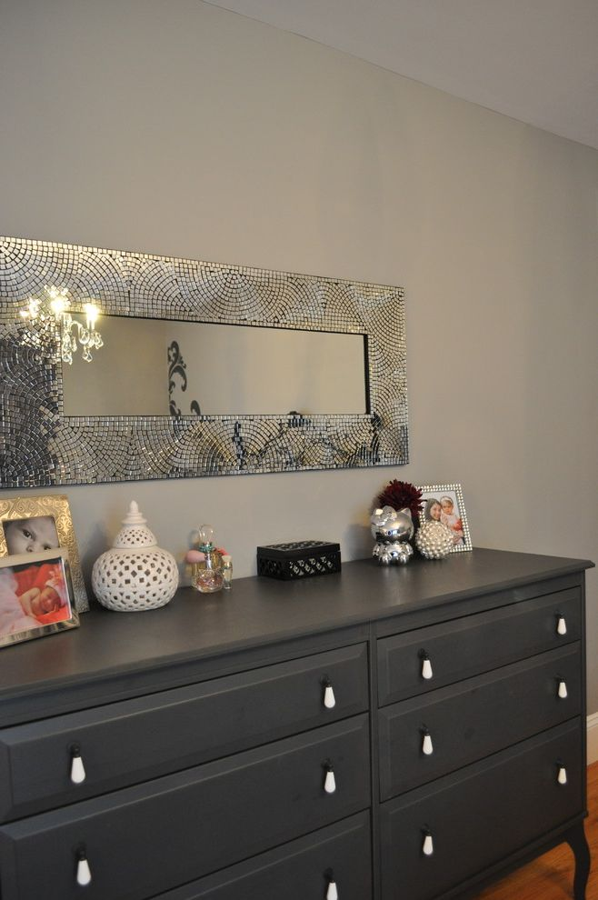 Mirror Dressor with  Spaces  and Black and Grey Bedroom Brocade Bedroom Brocade Dresser Girls Bedroom Girls Dresser Grey Dresser Mosaic Mirror Nj Interior Design Ny Interior Design Purple Accents in Bedroom