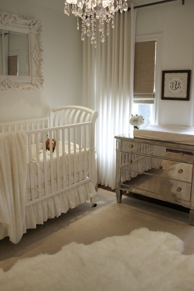 Mirror Dressor with Traditional Nursery  and Changing Table Chest of Drawers Crib Crib Bedding Curtains Drapes Dresser Ideas for Baby Boy Nursery Mirrored Furniture Monogram Nursery Sheepskin Rug Wall Art Wall Decor Window Treatments
