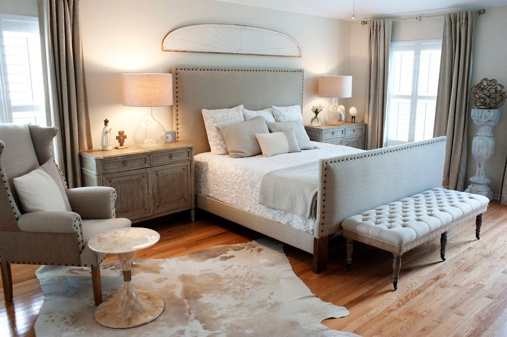 Missing Piece Tampa   Transitional Bedroom  and Cowhide Rug Distressed Glass Table Lamps Nailhead Detail Nailhead Trim Neutrals Tone on Tone Tufted Furniture Upholstered Bed Upholstered Bench Vintage Furniture Wood Floor