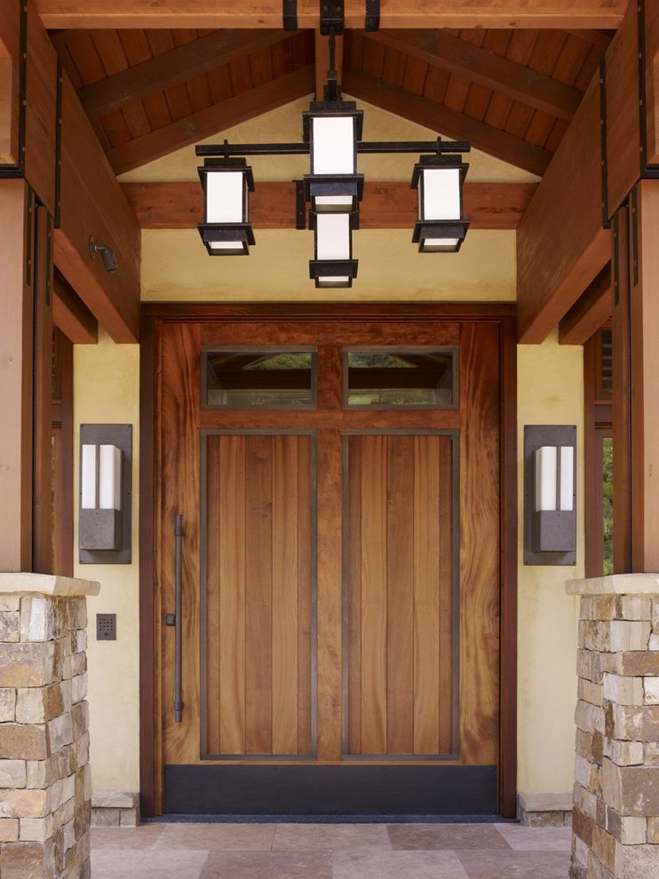 Mission Style Light Fixtures with Contemporary Entry and Ceiling Light Entry Front Door Large Wood Door Mission Style Stacked Stone Stucco Wall Sconces Yellow