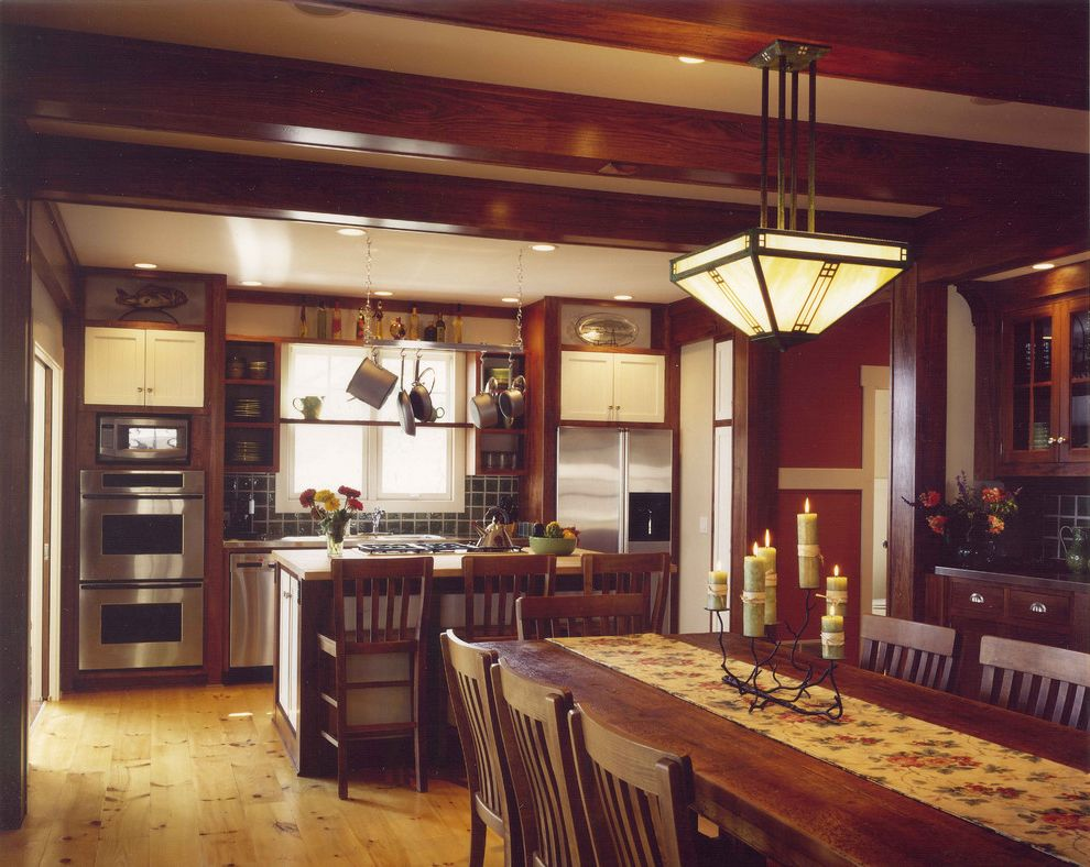 Mission Style Light Fixtures with Craftsman Kitchen and Arts and Crafts Ceiling Lighting Craftsman Exposed Beams Hanging Pot Rack Kitchen Island Open Kitchen Recessed Lighting Rustic Stainless Steel Appliances Tile Kitchen Backsplash Wood Flooring
