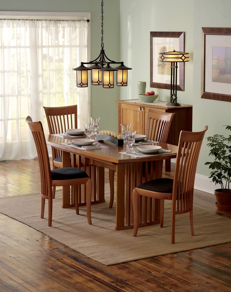 Mission Style Light Fixtures with Traditional Dining Room and Area Rug Buffet Chandelier Dining Table High Back Chairs Light Fixture Light Green Sideboard Table Lamp Wood Dining Set
