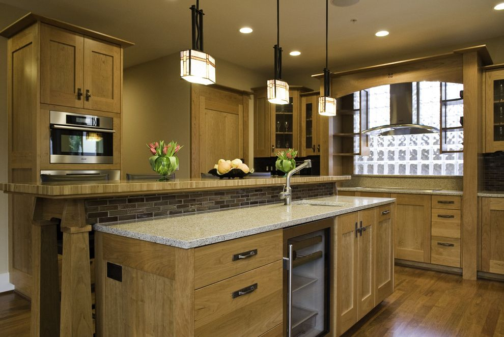 Mission Style Light Fixtures with Traditional Kitchen and Beverage ...