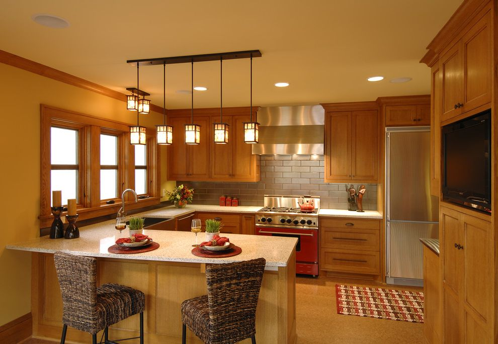 Mission Style Light Fixtures with Traditional Kitchen and Frame and Panel Granite Hood Island Pendant Lights Stainless Steel Appliances Subway Tile White Counters Wood Trim Woven Counter Stools Yellow