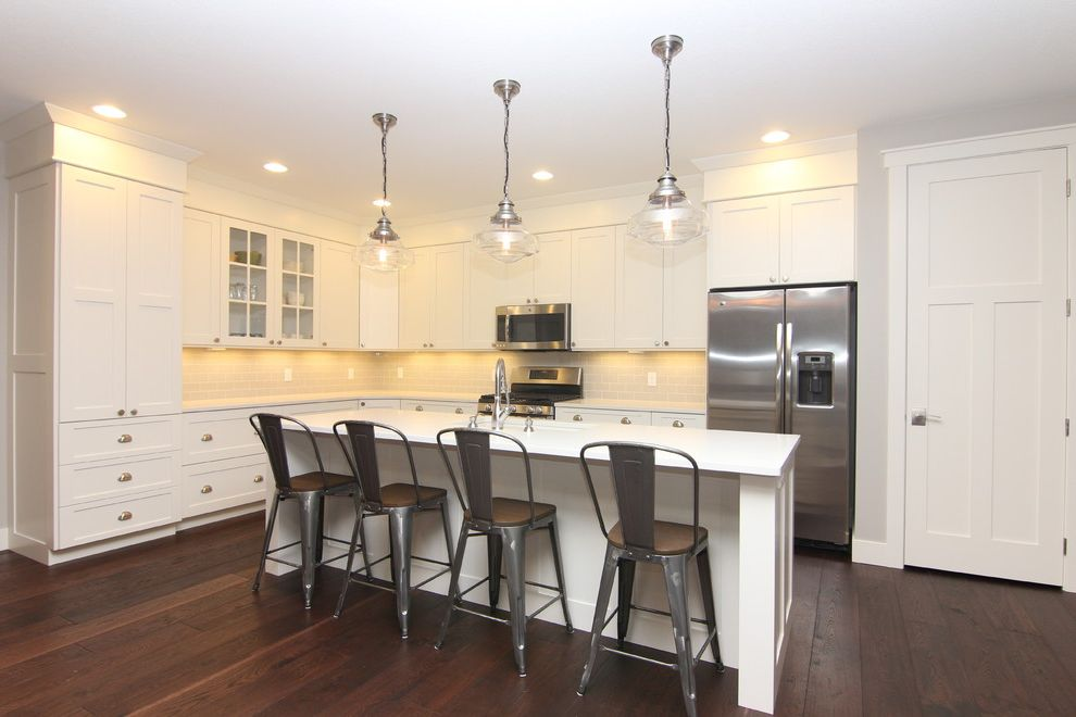 Mission Style Light Fixtures with Traditional Kitchen and Shaker Style