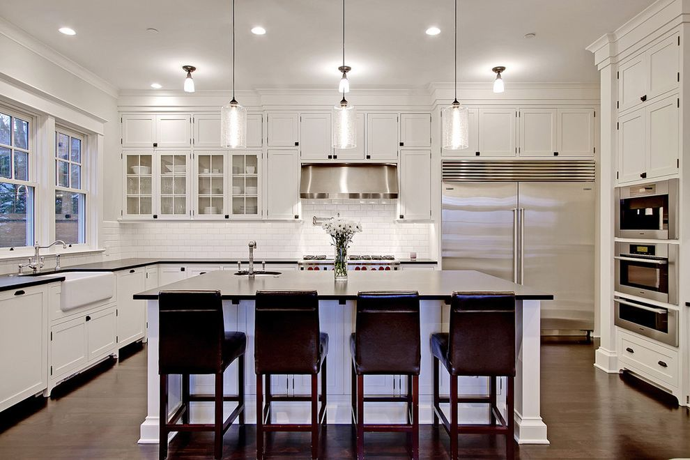 Mission Style Pendant Lighting Traditional Kitchen Also Barstool Cabinet Farmhouse Sink Glass Cabinet Kitchen Island Pendant Light Stainless Steel White Kitchen Cabinet Wood Floor Finefurnished Com