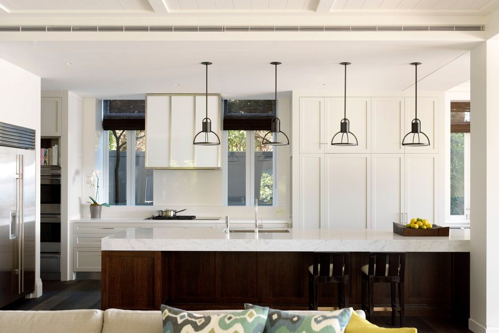 Mission Style Pendant Lighting with Transitional Kitchen Also Counter Stools Kitchen Island Neutral Pendant Lighting White Kitchen Window Shades Windows