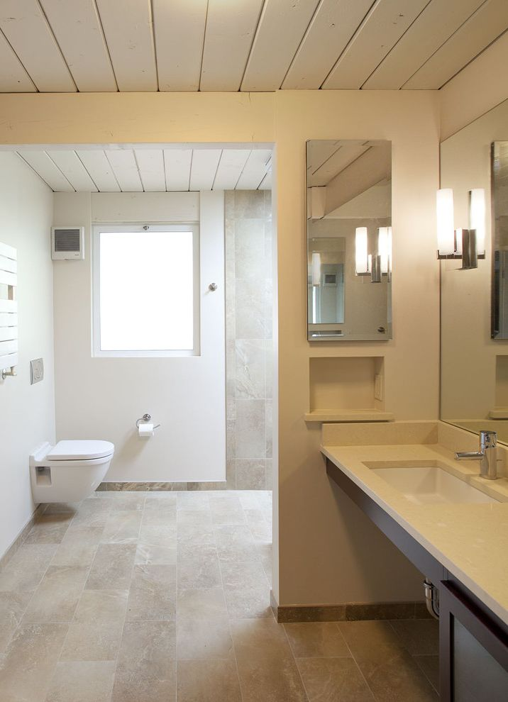 Missoula Electric Coop   Midcentury Bathroom Also Deco Sconce Modern Faucet Modern Sconce Niche Plant Ceiling Rectangular Undermount Sink Tan Tile Tile Up Wall Towel Warming Bar Wall Mounted Toilet Window